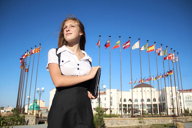 Student girl Student girl on the background of the international institution diplomacy stock pictures, royalty-free photos & images