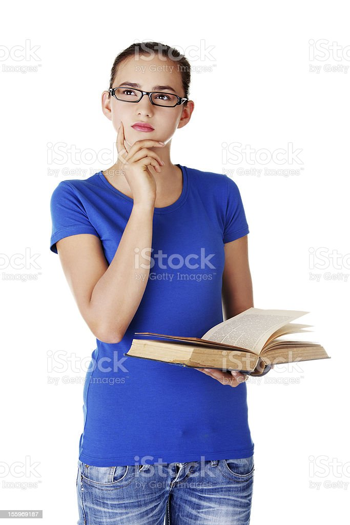 Student girl with opened book. royalty-free stock photo