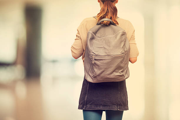 Student girl  with schoolbag 스톡 사진