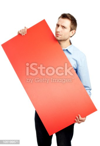 istock Student holding red board 105199571