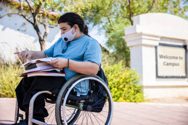 Student in a wheelchair stock photo