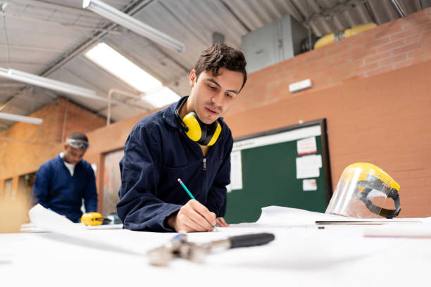 STEM student in an engineering class at a workshop stock photo