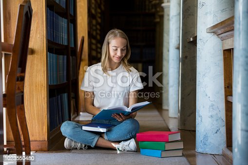 1023548222 istock photo Student in library 1023550480