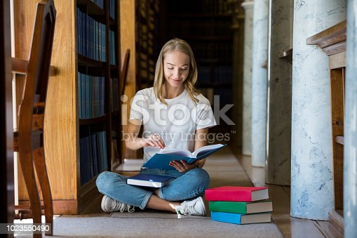 1023548222 istock photo Student in library 1023550490