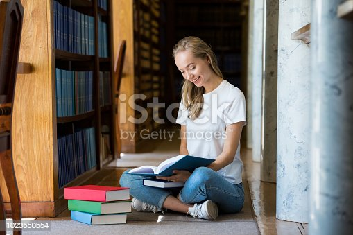 1023548222 istock photo Student in library 1023550554