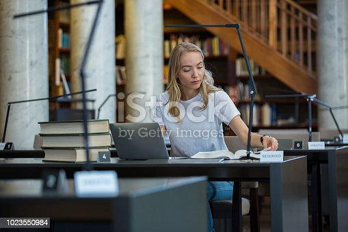 1023548222 istock photo Student in library 1023550984