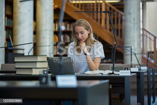 1023548222 istock photo Student in library 1023550994