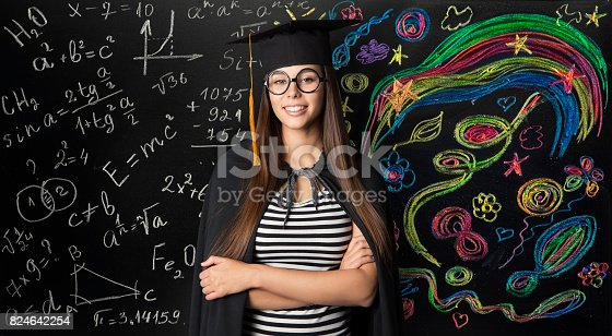 istock Student in Mortarboard Graduation Hat, Young Woman Learning Mathematics and Creative Art 824642254