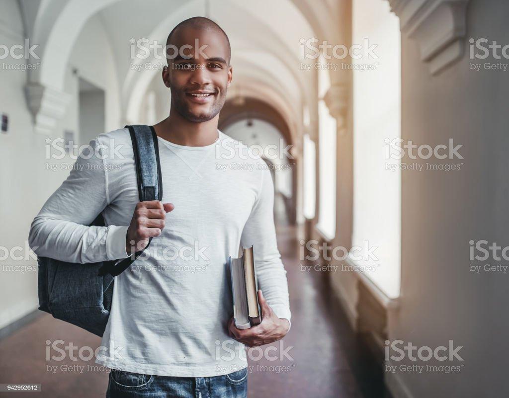 Student in university stock photo