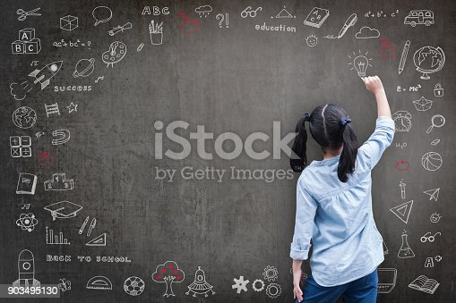 istock Student kid back view drawing doodle on school chalkboard 903495130
