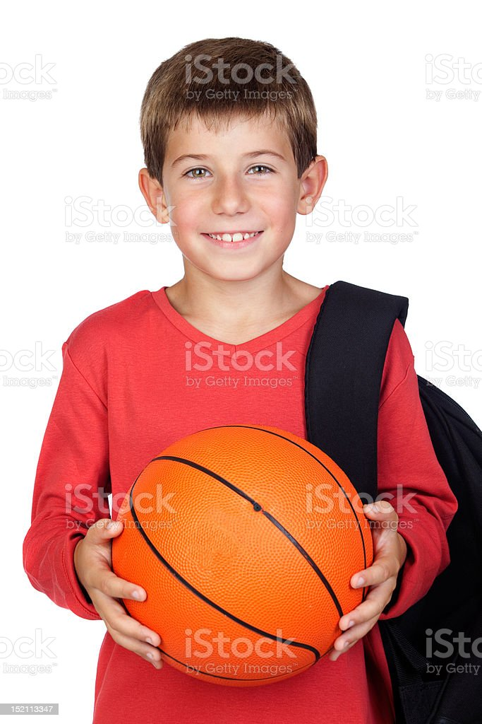 Student little child with blond hair stock photo