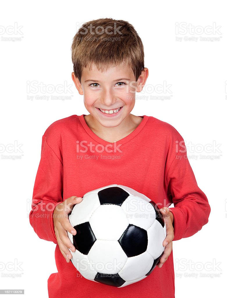 Student little child with soccer ball stock photo