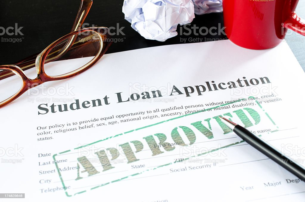 student loan application - approved royalty-free stock photo