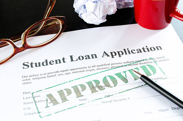 student loan application - approved stock photo