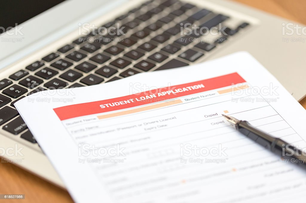 Student Loan Application Form stock photo
