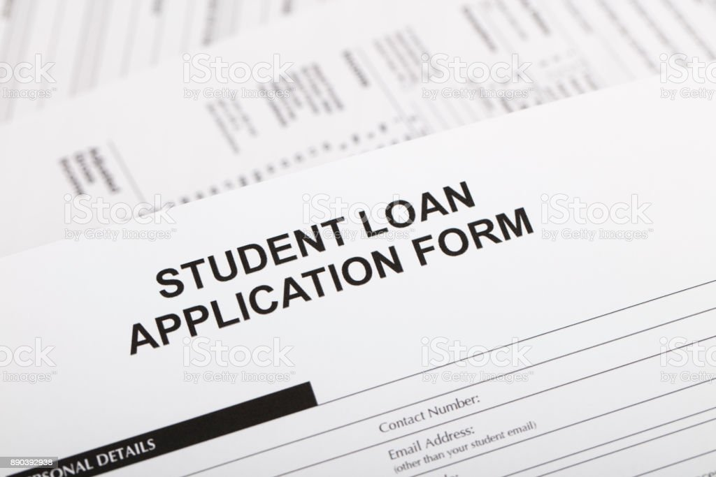 A stock photo of a Student Loan application form.