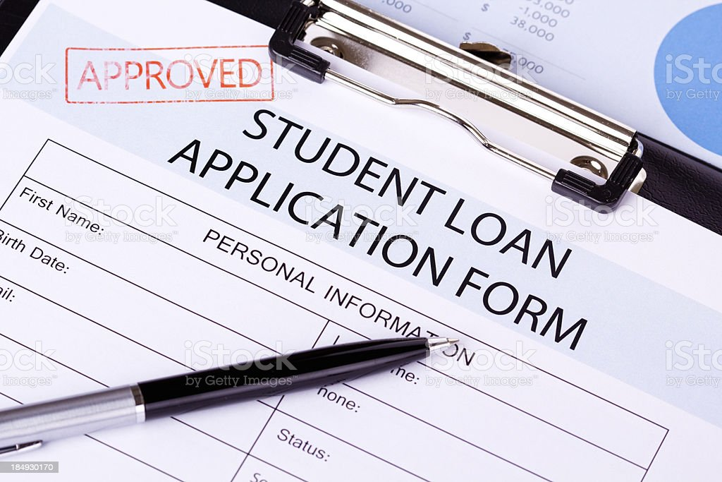 Student Loan Appliction Form stock photo