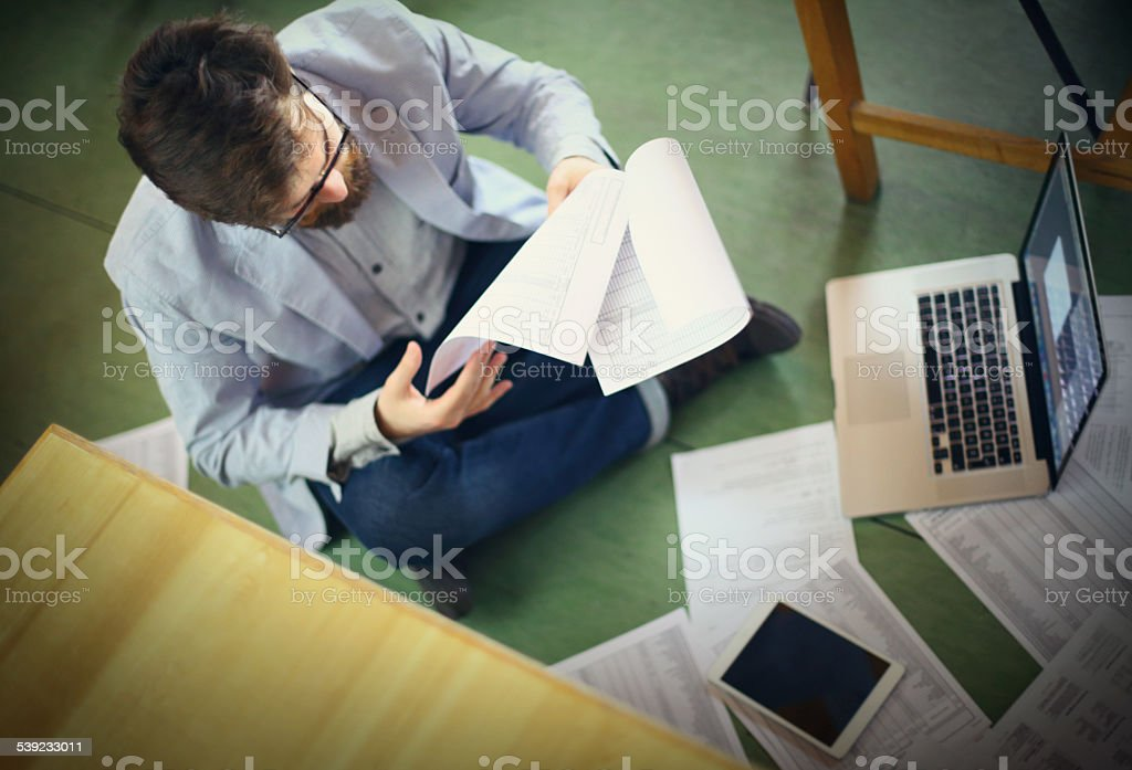 Student looking for certain document. royalty-free stock photo