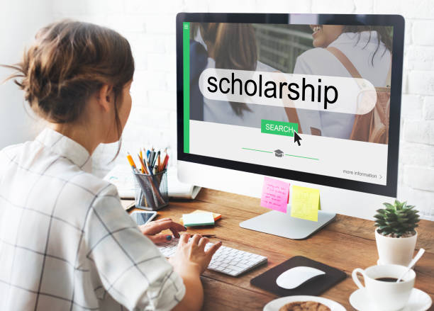 Student looking for scholarships stock photo