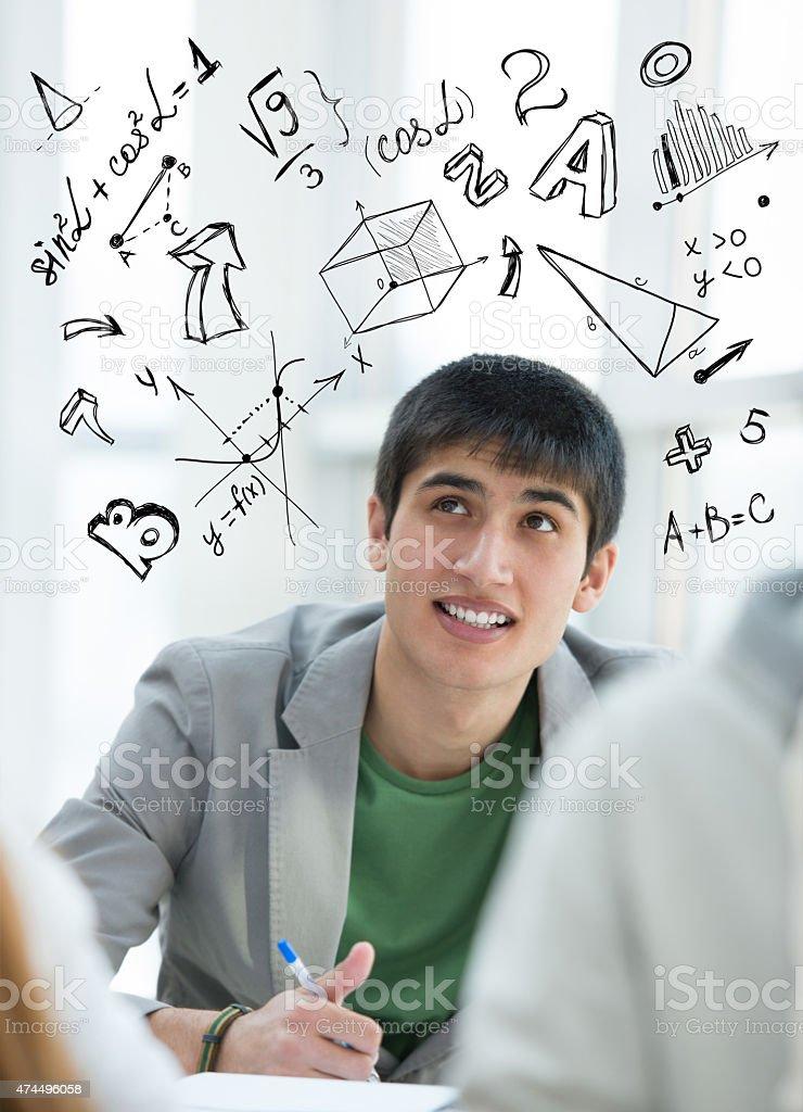 Student math symbols overhead stock photo