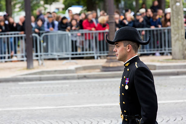 Student of Polytechnic Engineering school Paris, France - JULY 14, 2014: Student of Polytechnic Engineering school (Ecole polytechnique) during Military parade (Defile) in Republic Day (Bastille Day). Champs Elysees. ecole stock pictures, royalty-free photos & images