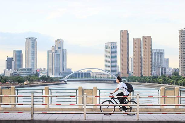 Student on a Bike-Ningbo China stock photo