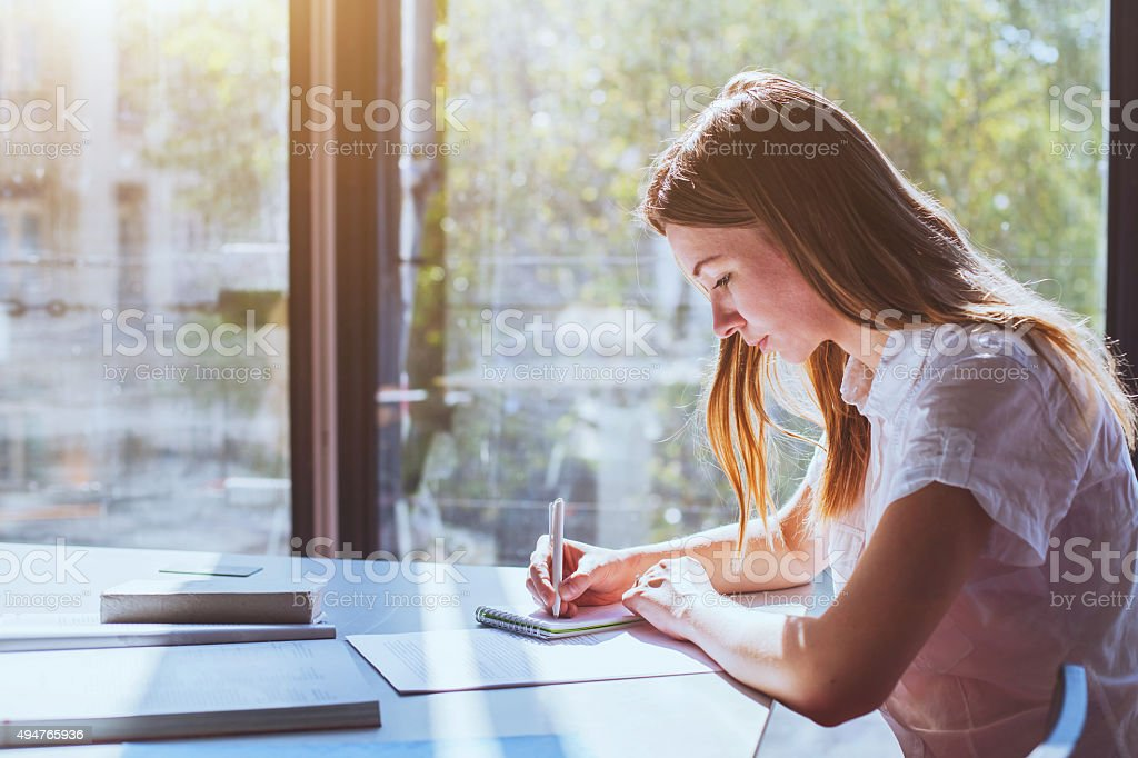 student on exam stock photo