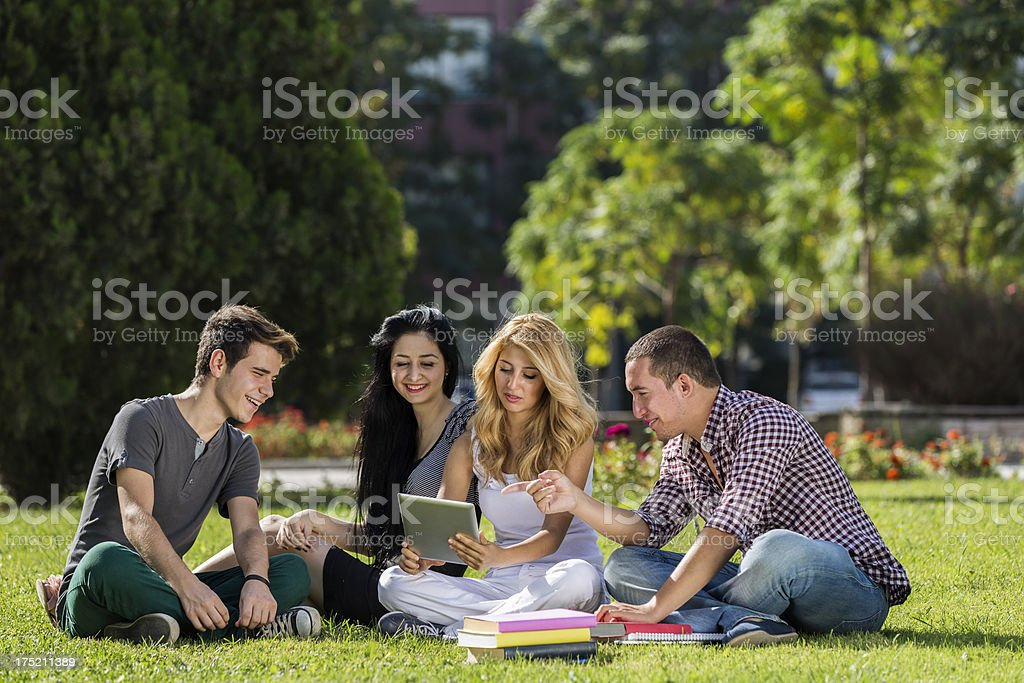 Student outdoors stock photo