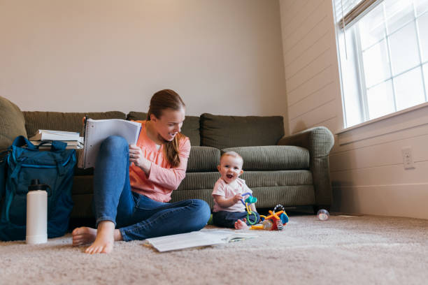 Student Parent Studying on Floor