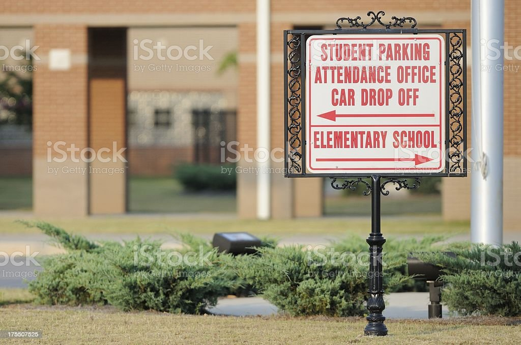 Student parking attendance office car drop off sign stock photo