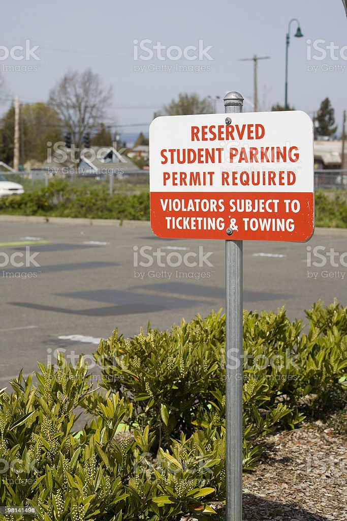 Student Parking Sign royalty-free stock photo
