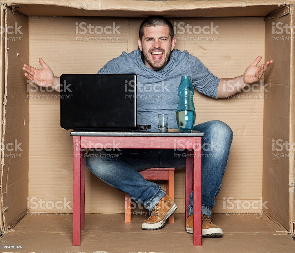 student presents his dorm room stock photo
