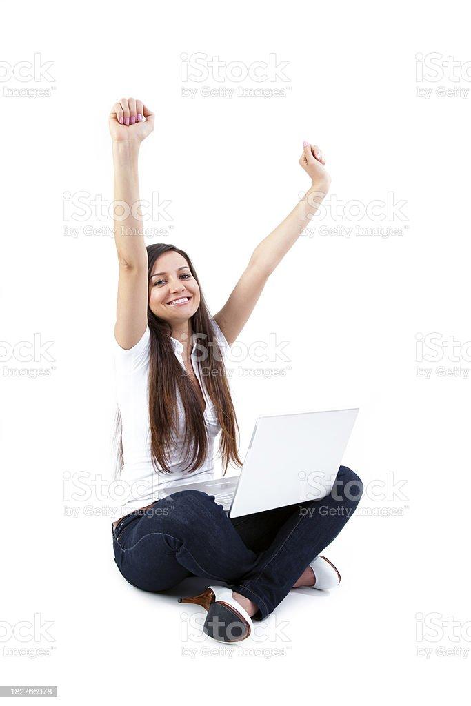Student raised arm in joy royalty-free stock photo