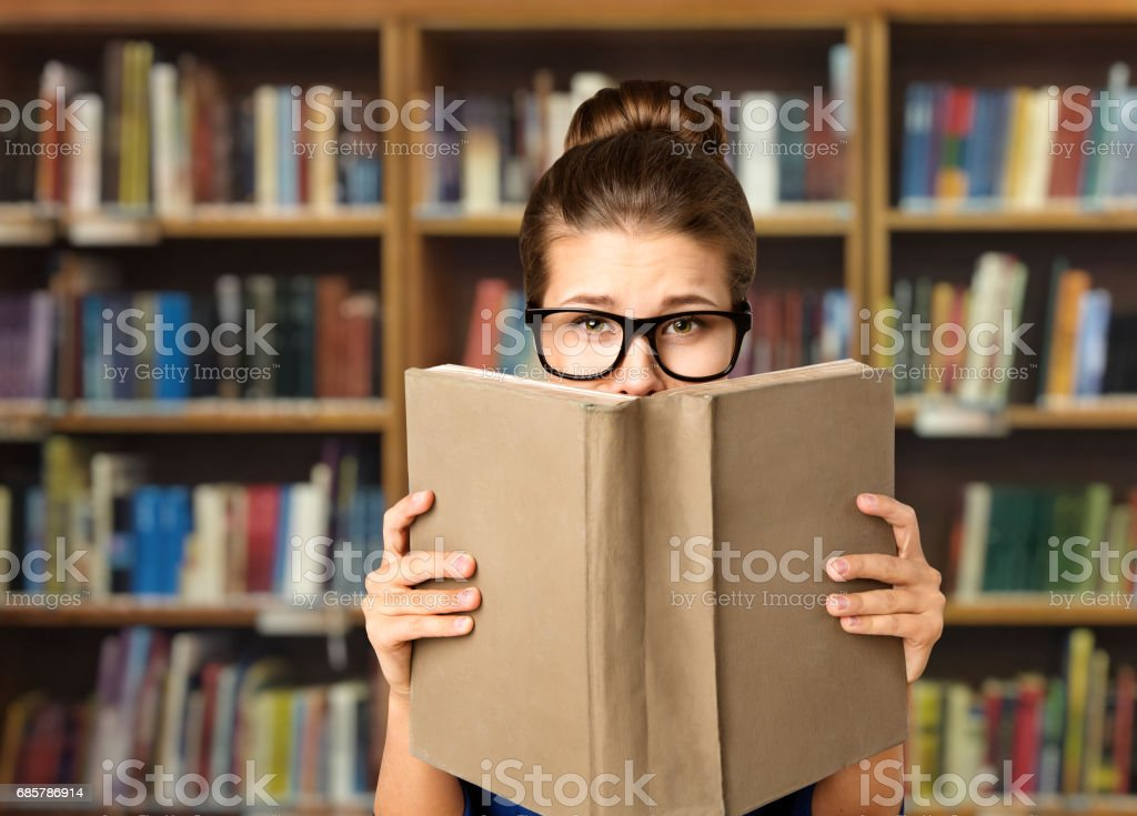 Student Read Open Book, Eyes and Books Blank Cover, Woman Study in Library, Education foto