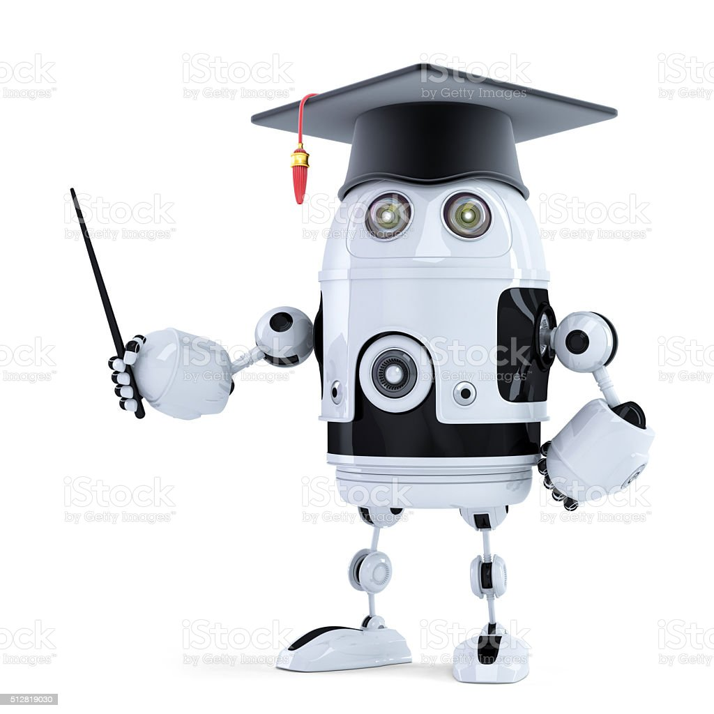 Student robot with pointer stock photo