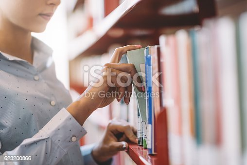istock Student searching books 623200866