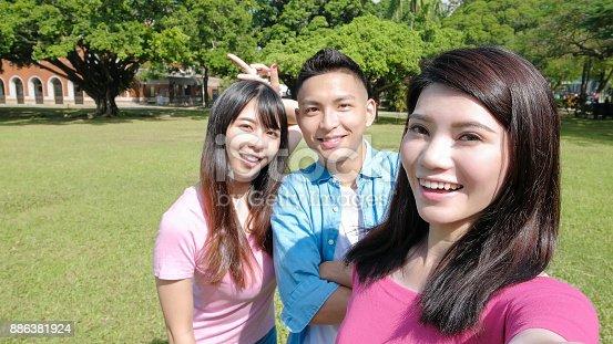 644191686 istock photo student selfie happily 886381924