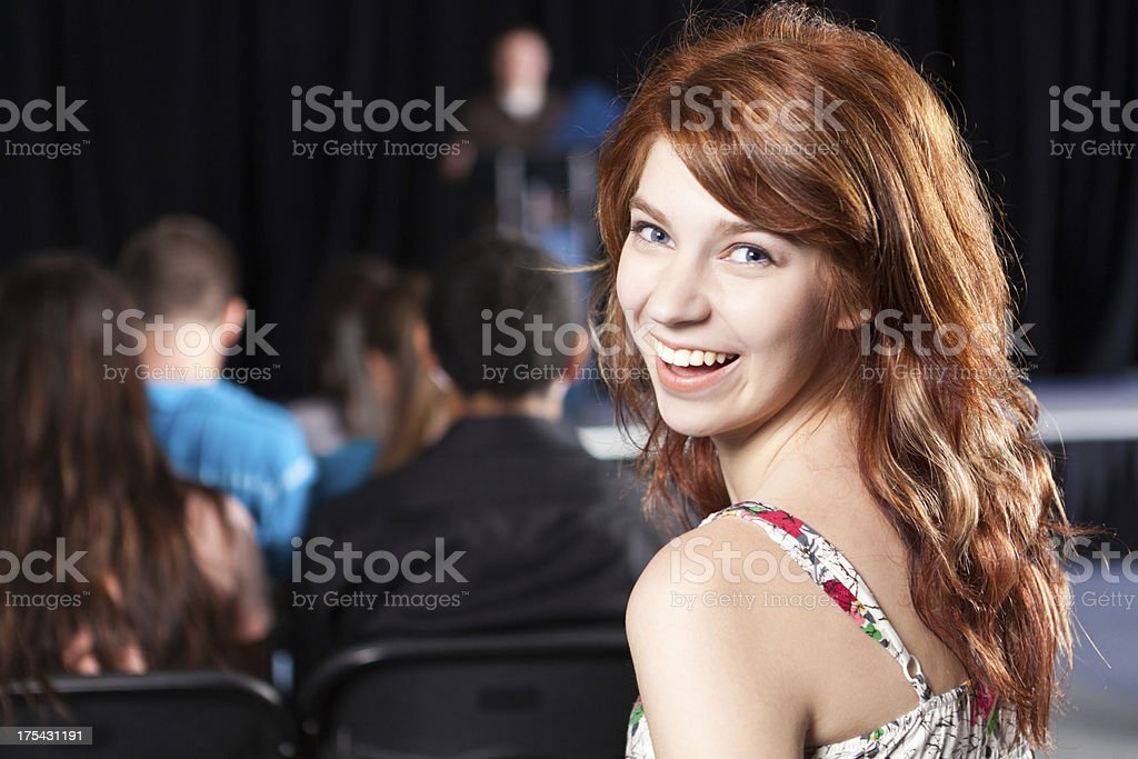 Student smiling during school event royalty-free stock photo