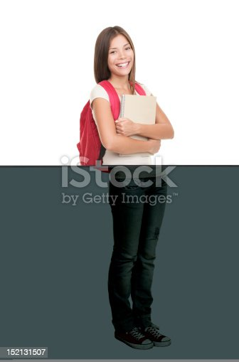 istock Student standing on white background 152131507