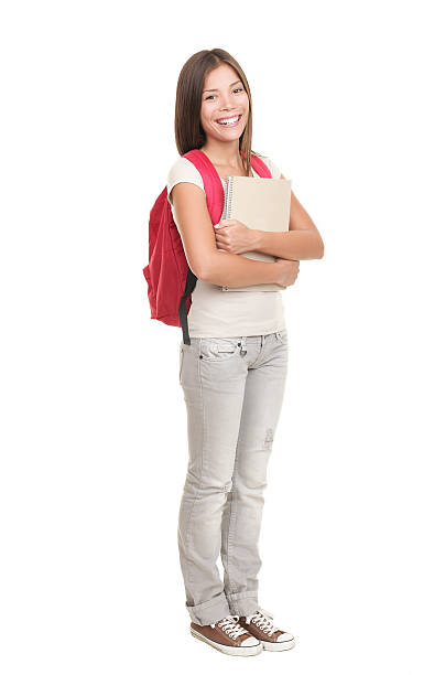 Student standing on white background College university student standing isolated on white background in full length. Asian Caucasian xwoman student. Click for more: female high school student stock pictures, royalty-free photos & images