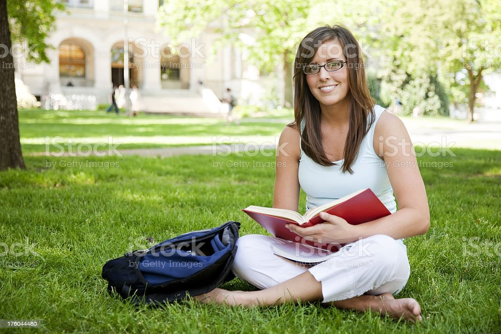 Student Studying Outside royalty-free stock photo