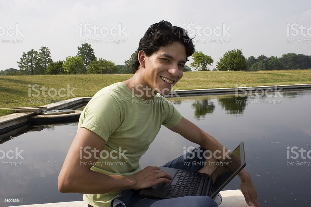 Student Studying with Laptop royalty-free stock photo