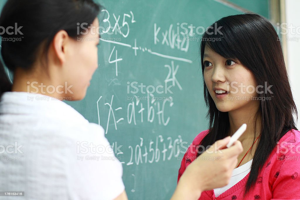 student talk with her teacher royalty-free stock photo