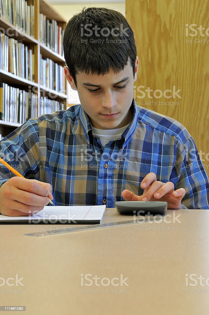 Student Using Calculator royalty-free stock photo