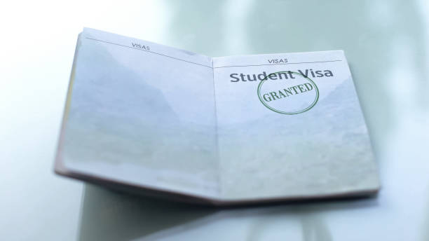 Student visa granted, seal stamped in passport, customs office, travelling Student visa granted, seal stamped in passport, customs office, travelling passport stamp stock pictures, royalty-free photos & images