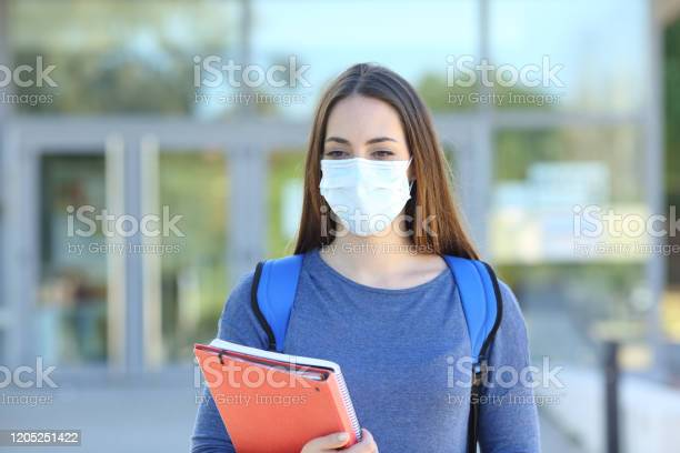 Student wearing a mask walking in a campus picture id1205251422?b=1&k=6&m=1205251422&s=612x612&h=m2huorhivdr0ofu n2pgkmftw2mg160bahbk07ibjtq=
