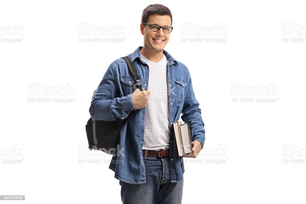 Student with a backpack and books stock photo