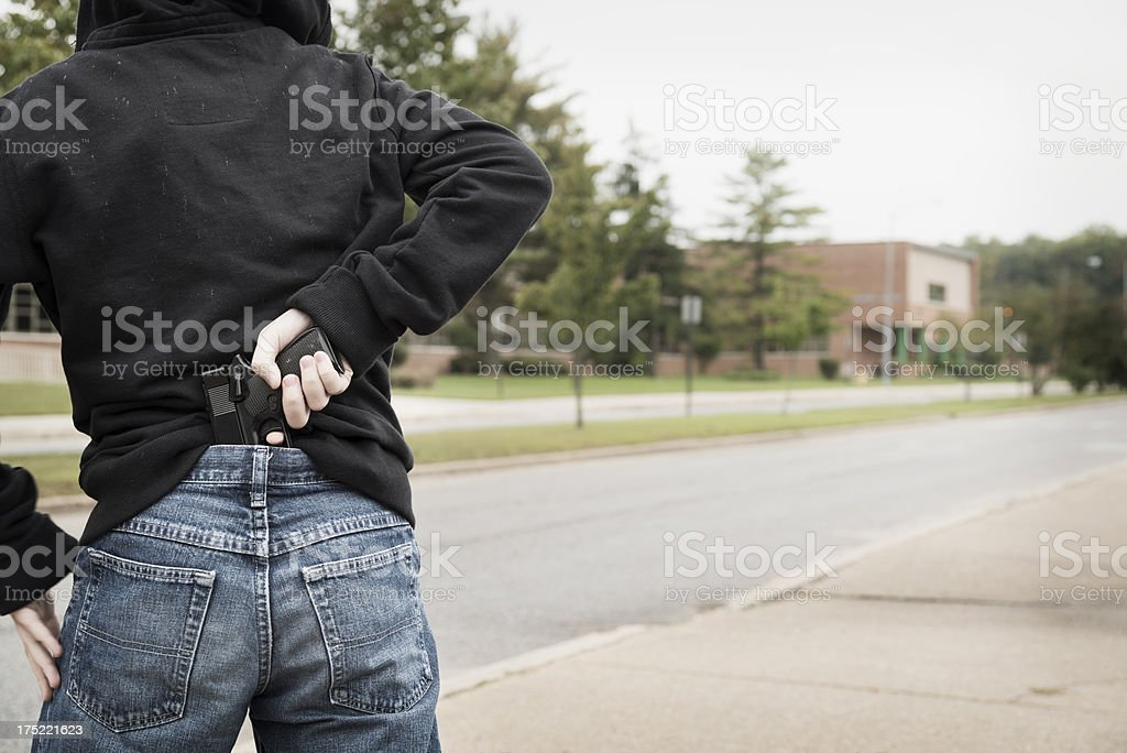 Student with a Gun at School royalty-free stock photo