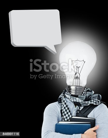 istock Student with a light bulb head and speech bubble 846991116