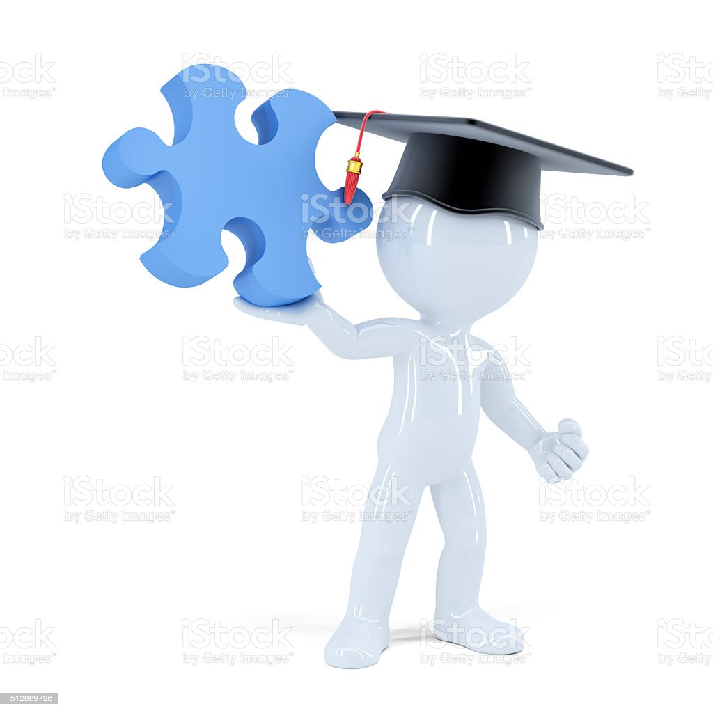 3D Student with a piece of puzzle. Isolated. Clipping path. stock photo